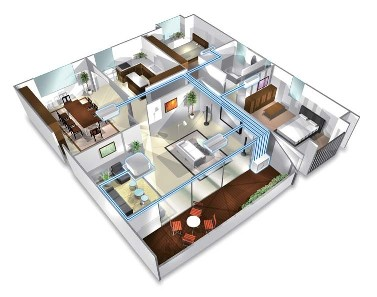 Illustration of multi split system air conditioning in a Perth home